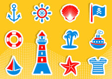 Marine and pirate icons Royalty Free Stock Photos
