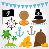 Marine Pirate Illustrations ajustou-se no fundo branco Foto de Stock Royalty Free