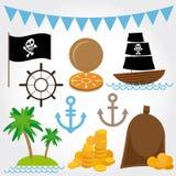 Marine Pirate Illustrations fijó en el fondo blanco Foto de archivo libre de regalías
