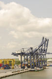 Marine port cranes and cargo Royalty Free Stock Images
