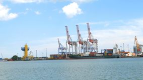 Marine port cranes, and industrial zone in cargo front of Odessa sea commercial port in Ukraine. stock video footage