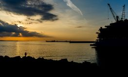Marine port at sunset Royalty Free Stock Image