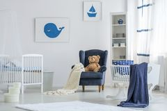 Marine posters in baby`s bedroom royalty free stock photo