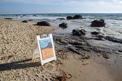 Marine Preserve placard  on Crystal Cove State Park Beach, Southern California. Royalty Free Stock Image