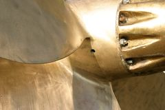 Marine propeller. Detail view of a discarded heavy and solid marine propeller stock images