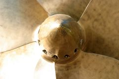 Marine propeller. Center view of a discarded heavy and solid marine propeller royalty free stock image