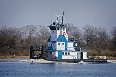 Marine push boat or tug boat in river with barge Royalty Free Stock Image