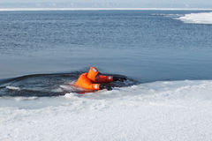 Marine rescue operation. Of the Baikal, Siberia Royalty Free Stock Image
