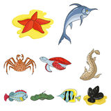 Marine and river inhabitants. Fish, whales, octopuses.Sea animals icon in set collection on cartoon style vector symbol. Stock web illustration Stock Images
