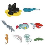 Marine and river inhabitants. Fish, whales, octopuses.Sea animals icon in set collection on cartoon style vector symbol. Stock web illustration Stock Photos