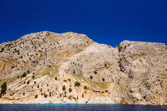 Marine rocky bay. Landscape Aegean seaside bay with a rocky shore Royalty Free Stock Image