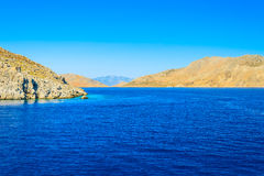 Marine rocky bay. Landscape Aegean seaside bay with a rocky shore Royalty Free Stock Photo