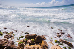 Marine rocky shore in mediterranean sea Royalty Free Stock Images