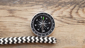 Marine rope and compass Royalty Free Stock Image