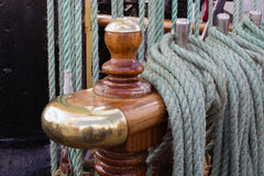Marine rope. The detail of the tall ship Royalty Free Stock Image