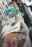 Marine rope. The detail of the tall ship Stock Photo