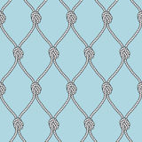 Marine rope fishnet with knots seamless vector background. Nautical repeating texture Stock Images