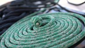 Marine rope folded into a spiral. Close up stock footage