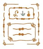Rope frames and rope knots isolated vector Set vector illustration