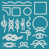 Marine rope knot. Ropes frames, cordage knots and decorative cord divider isolated vector set royalty free illustration