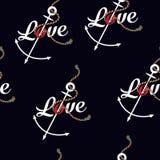 Marine Rope Knot Seamless Pattern. Endless Navy Illustration Wit Royalty Free Stock Image