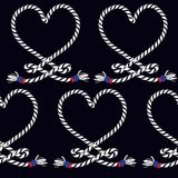Marine Rope Knot Seamless Pattern. Endless Navy Illustration Wit Stock Images