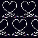 Marine rope knot seamless pattern. Endless navy illustration wit stock illustration