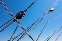 Marine rope ladder at pirate ship Stock Photo