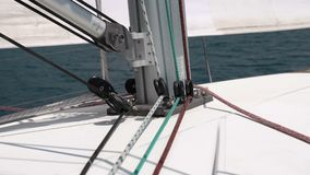 Marine rope moves, close up. Yacht sail, marine rope moves, close up. Sea background stock video