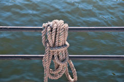 Marine rope on the rescue boat Stock Photo
