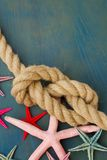 Marine rope with starfish Royalty Free Stock Images