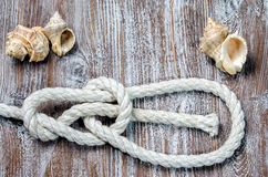 Marine rope tied knot Bowline. On a wooden deck Royalty Free Stock Images