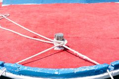 Marine rope on wooden boat Stock Photography