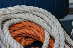 Marine ropes lying on the deck of a ship Royalty Free Stock Photos