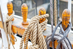 Marine ropes and tackles. On the tall ship Royalty Free Stock Photo