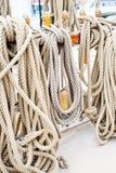 Marine ropes and tackles. On the tall ship Royalty Free Stock Photos