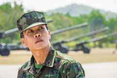 A marine of Royal Thai Navy in military parade Stock Image