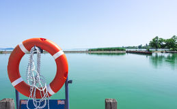 Marine Safety Equipment, lifeline. In summer Stock Photos
