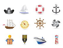 Marine, Sailing and naval icons Stock Photography