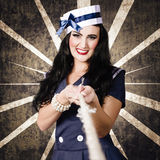 Marine sailor corps girl. Vintage design portrait Royalty Free Stock Photo