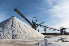 Marine salt industry. Sea salt industry in Torrevieja, Alicante province, Spain, Europe stock image