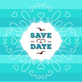 Marine Save the Date card, wedding invitation. Rope frame Nautical design Royalty Free Stock Images