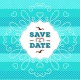 Marine Save die Datumskarte, Heiratseinladung Seilrahmen-Seedesign Lizenzfreie Stockbilder