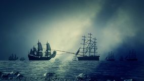 Marine Sea Battle Between Two Navy Fleets of Sailing Ships Shooting Each Other stock footage