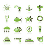 Marine and sea icons. Icon set Stock Images