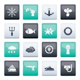 Marine and sea icons over color background. Vector icon set stock illustration