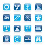 Marine and sea icons. Vector icon set Stock Photography