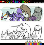 Marine and Sea Life Animals for Coloring. Coloring Book or Page Cartoon Illustration of Funny Marine and Sea Life Animals for Children Education Stock Photography