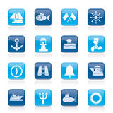 Marine, sea and nautical icons. Vector icon set Stock Photography