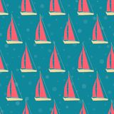 Marine seamless background with cartoon vector boats royalty free stock images